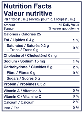 Nutritional Info - Lactantia® French Vanilla Coffee Creamer