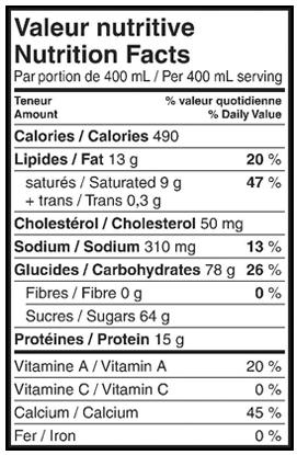 Nutritional Info - Lactantia® Vanilla Milkshake